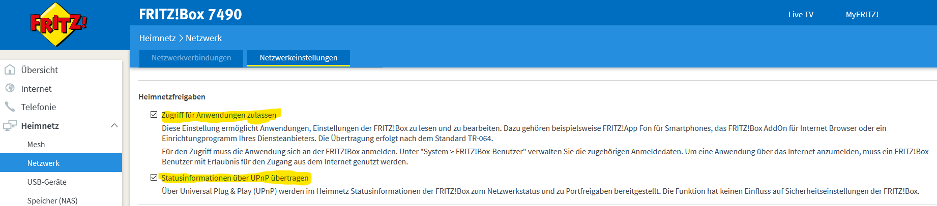Fritzbox Einstellungen zum Datensammeln